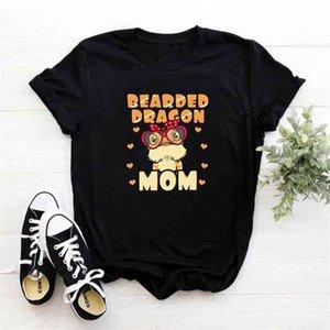 Bearded Dragon Mom T Shirts Women Short Sleeve Harajuku Tee Shirt Femme Casual O-neck Tshirt Printing Camiseta Mujer 210423