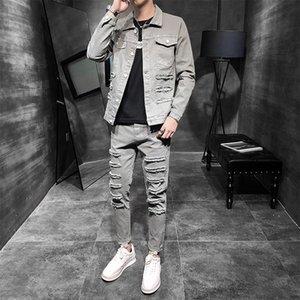 Sports Suit Men Jacket Tracksuits mens Top Pants Two Piece male Trend 2021 Korean Autumn