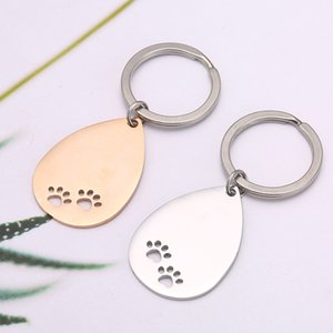 Stainless Steel Dog Paw Keyrings Blank Keychain Diy Charm Print Engraved Mirror Polished Pendant Key Chain Ring Accessories 636 K2