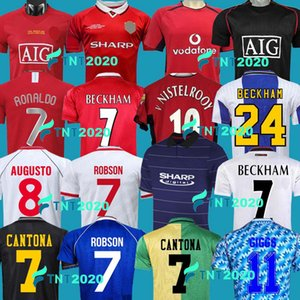 맨체스터 레트로 1992 2007 축구 유니폼 맨 08 94 98 99 86 88 1990 2002 United V.Nistelrooy Giggs Scholes Beckham Ronaldo Cantoona 1999 2000 Away Solskjaer Shirts