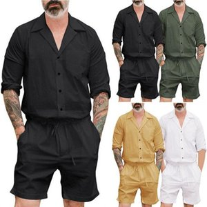 Men's Casual Shirts Men Short Sleeve Stylish Jumpsuits Lace Up Seaside Overalls Male Rompers Slim Solid Cotton Beach Hawaii Clothe