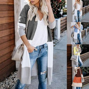 Sfit Spring Women Sweater Striped Color Block Draped Loose Cardigan Long Sleeve Casual Knit Sweater Coat wjl0206