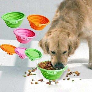 Мода Candy Color Pet Saceates Складная силиконовая собака на открытом воздухе Портативный пищевой контейнер.