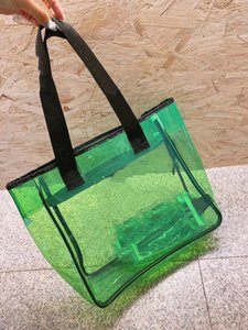 Top Quality Luxurys Designers Candy Colors Bags Jelly Clear Satchel Tote Double Flap Bag Classic Beach Shoulder Vinyl France Vintage Ladies Women's Large Handbags