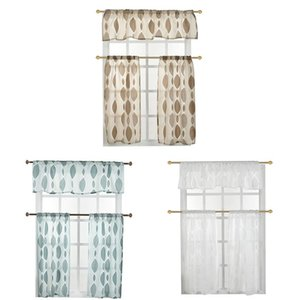 Curtain & Drapes Top For Living Room Bedroom Two-color Circle Cut Flower Foam Window Screen Three-piece Home Decorative Textile