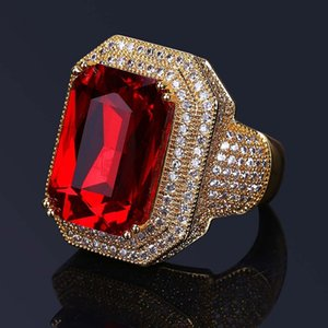 New Mens Hip Hop Ring Jewelry High Quality Ruby Gemstone Zircon Gold Rings Fashion Punk Ring