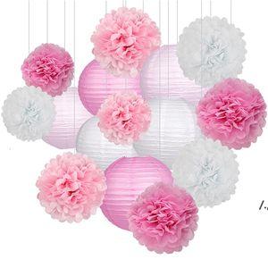 15 adet / takım Kağıt Çiçek Topları Poms Kağıt Petek Topları Kağıt Fenerler Doğum Günü Partisi Düğün Bebek Duş Ev Dekorasyon AHD6070