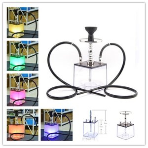 Colored LED Hookah Acrylic Bong Recycler Water Shisha Set Square Water Pipe Set Double Plastic Pipe