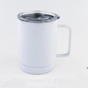 Sublimation Tumblers Blanks Car with Handle Coffee Mug Stainless Steel Drinking Blank Thermal Transfer Tumbler Auto Mug sea ship AHE5774