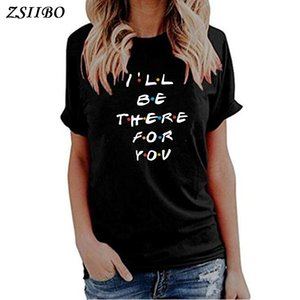 T-shirt Sweat-shirts Sweats à capuche pour femmes Je serai là pour votre lettre imprimer Lunoakvo chemise Tshirt Sleeve Sleeve Tee