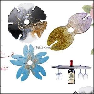 Molds Jewelry Tools & Equipment Jewelrysile Flower Irregar Glass Rack Resin Mold For Diy Making Wine Holder Drop Delivery 2021 Ofjwu