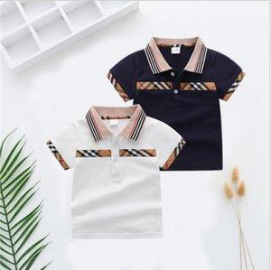 Baby Boys Summer Plaid T-shirts Cotton Kids Turn-Down Collar T-shirt Children Clothes Boy Shirt 1-7 Years