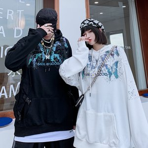 ROLA زوجين غير السائدة تصميم الأزياء الرجال هوديس الرجال بدرجة فراشة طباعة فضفاضة سترة كبيرة الحجم