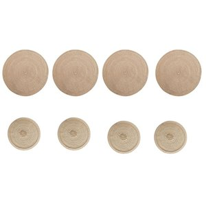 Table Runner 8Pcs Nordic Round Mat Anti Slip Coasters Insulated Placemats Anti-Scalding Placemat Linen Non Plate Pad Kitchen Tool