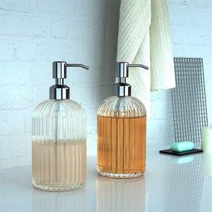 Transparent Liquid Soap Bottle Vertical Stripe 500ml Glass Hand Sanitizer Bathroom El Decor Dispenser