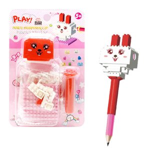 Rabbit with Pencil Sharpener Block Construction Building Blocks Pen Toy Brick Educational Toys for Kids