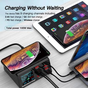 100W Wireless Dock 18W PD QC3.0 Fast Charger Station Smart LED Display 8 Ports USB