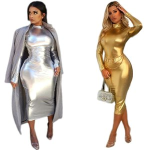 Women nightclubs skirt sexy package hip skirt long sleeve one-piece dress fashion slim gold siver color skirt plus size women clothes 2268