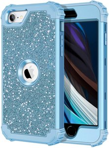 Glitter Blue Case for iPhone SE 2020 Heavy Duty Shockproof Protection Hard Plastic+Silicone Rubber Hybrid Protective Cover