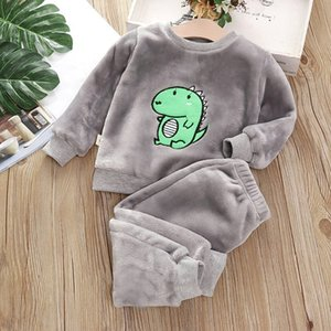 Baby Boy Girl Pajamas Set Flannel Fleece Toddler Kids Child Warm Catoon dinosaur Sleepwear Clothes Winter Fall Spring 1-6Y