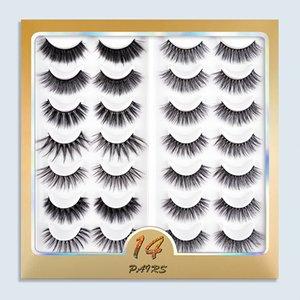14 Pairs 3D Multilayer False Eyelashes Handmade Fluffy Faux Mink Eyelash Natural Wispy Lash Extension Fake Eye Lashes Multipack