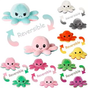 Wholesale Multi Styles Reversible Flip Octopus Stuffed Soft Double-sided Expression Plush Toy Antistress Desktop Gift Doll Birthday Gift Arts and Crafts