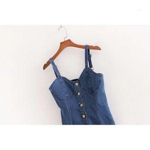 women's Summer Casual Dresses fashion temperament button decoration Sexy Stretch Denim suspender dress k825