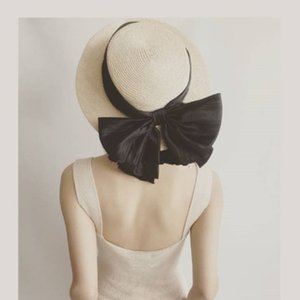 Simple bow in spring and summer Philippine hemp flat top anti holiday beach grass hat