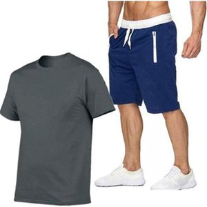 Men's Tracksuits Summer Brand Track Suit T-shirt +Sports Shorts Two-piece Tracksuit Sportswear Casual Wear Jogging Mens