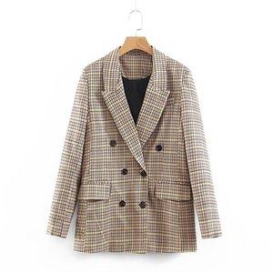 Frauenanzüge Blazers Hee Grand Vintage Plaid Damen Zweireiher Langarm Jacken Taschen gekerbte Kragen Vogue Retro Tops WWX501