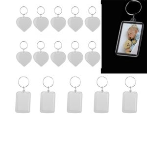20pcs Acrylic Photo Keychain Transparent key holders with space for photos or images Blank Photo Picture Frame 210409