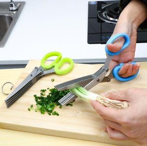 Stainless Steel Cooking Tools Kitchen Accessories Knives 5 Layers Scissors Sushi Shredded Scallion Cut Herb Scissor GGA5099