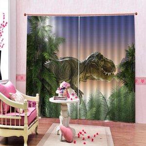 DRAPES DE CORTENA 3D Ventana de apagón de lujo Historieta de la sala de estar para los niños cortinas animal