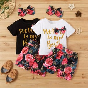 Sets kids baby girls short sleeve letter tops T-shirts flower bottoms toddler girl clothing child clothes