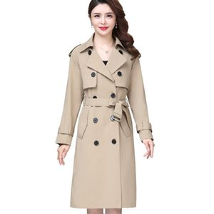Classic Women Fashion England Middle Long Trench Coat Overcoats High Quality Designer Style Womens Double Breasted Jacket Coats Size XL-5XL 4 colors
