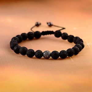 Charm Weave Braiding 8mm Black Lava Stone Bead Bracelet Men Pave Setting CZ Ball Women Macrame Homme ABL016 Beaded, Strands
