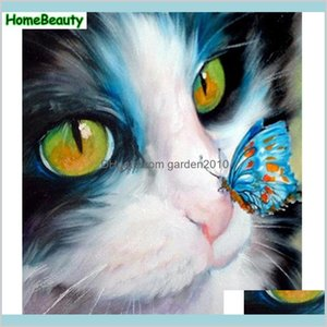 Paintings Arts, Crafts & Gifts Home Garden Diy Acrylic Painting By Numbers Cat And Butterfly Canvas Art Oil Pictures Coloring Number W