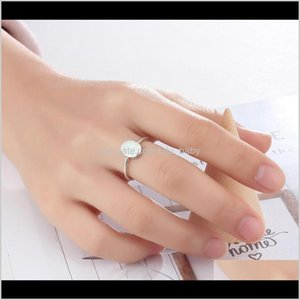 Rings Jewelry Drop Delivery 2021 Solitaire Finger White Fire Opal Oval Ring Charm Lady Girls Sier Ps2803 Y2Sj4