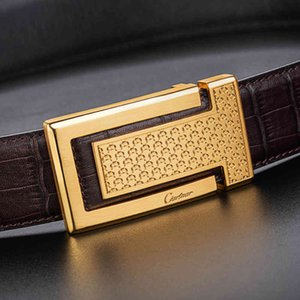 Ciartuar Men for Jeans Casual Luxury High Quality Waist Smooth Buckle Genuine Leather Designer Gold Metal Belt