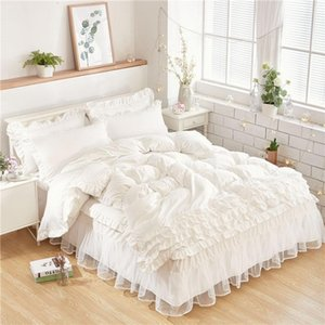 Luxury White Bedding Sets For Kids Girls Queen Twin King Size Duvet Cover Lace Bed Skirt Set Pillowcase Wedding Bedclothes