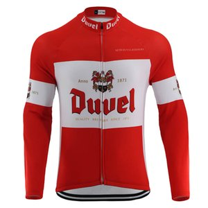 Euskadi DUVEL Beer Red Cycling Jersey Long Sleeve Men's Retro Bicycle Clothing Summer Thin No Fleece & Winter Wool MTB Bike Clothes Ropa Ciclismo