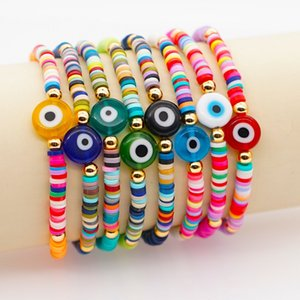 Turkish Evil Eye Charm Bracelet Femme Greek Eyes Bracelets For Women Vintage Beaded Bangle Polymer Clay Heishi Disc Beads Pulseras Boho Bijoux Jewelry