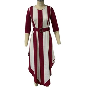 Spring Summer Dress Women 2021 Casual Plus Size Slim Irregular Striped Maxi Dresses Elegant Sexy V Neck Bandage Long Party