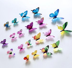 3D Butterfly Wall Stickers 12pcs Set Home Decor Muti Colors Butterflies Walls Decors Colorful Poster Window Decoration Decal wjl0210