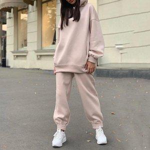 Two Piece Set Casual Fleece Tracksuit Women Winter 2021 Women's Sets Oversized Hooded Long Sleeve Hoodie Sport Pants Lady Suit