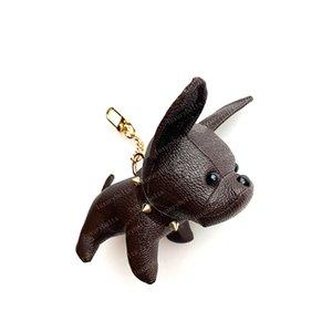 2021 llavero bulldog llavero marrón flor de cuero hombres bolsos bolsos bolsos accesorios de equipaje amantes del coche colgante 7 colores con caja # perro-01