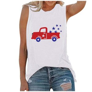 Tanks & Camis Women Summer Independence Day Tops O-neck Print Sleeveless Tank T-shirts Graphic Blouse Top Chaleco De Mujer Women's