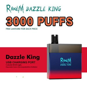 RandM Dazzle King 3000 Puffs E Cigarette Disposable Pod Device Starter Kit Vape Pen with Code