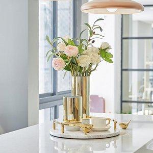 Vases Lustre Gold Glass avec marbre blanc Base de base Vase Vase Arrangement de fleurs Ornement Moderne Maison Salon Salon Desktop Accessoires