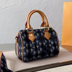 Denim Two-tone Leather Shoulder Bag Cross Body Bags Women Handbag Purse Detachable Ajustable Strap Fashion Double Zipper Golden Hardware Handbags Tote Wallet